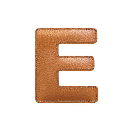 stitched: Letter E made of stitched leather isolated over white background. Orange color. Frontal view.