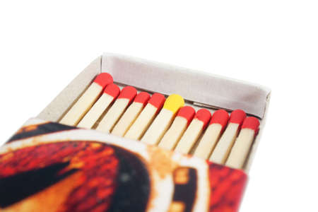 Matchbox with red and yellow matches isolated over white background