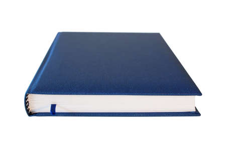 Blue closed diary isolated over white background. Perspective view. Stock Photo