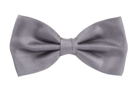 Silver bow tie isolated over white background Stock Photo
