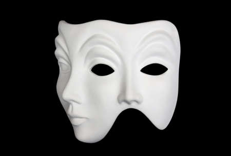 Double face white mask isolated over black background 34 view