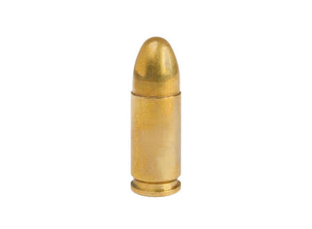 Standing 9mm bullet isolated on white background photo