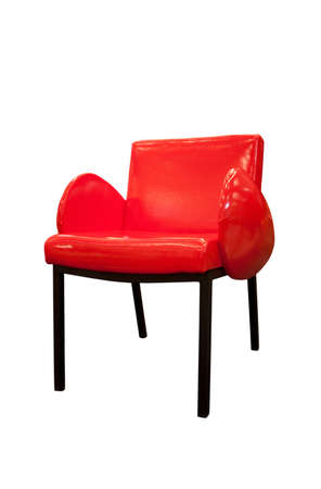 Modern red armchair isolated on white background 34 view