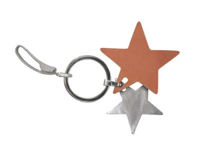 Pair of stars key holder isolated over white background Stock Photo