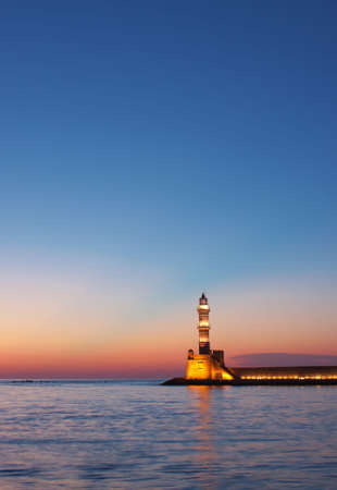 Hania lighthouse at dusk. Crete, Greece. Stock Photo