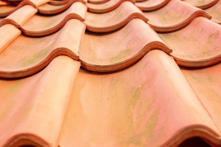 Perspective view of red roof clay tiles
