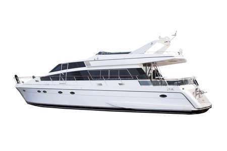 Medium size luxury yacht isolated over white background photo