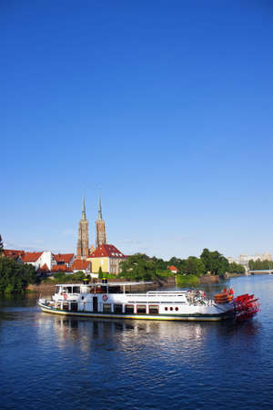 Paddle steamer ship on Odra river in Wroclaw, Poland. No trademarks. Copyspace available. Stock Photo