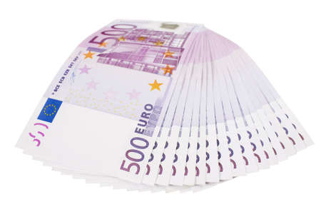 500 euro banknotes fan isolated over white background Stock Photo