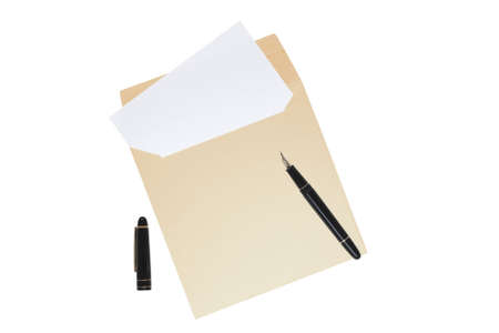 Open envelope with blank letter inside isolated over white background. Fountain pen with cap lying on top. Copyspace.