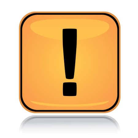 signo de admiracion: Signo de cuadrado amarillo de exclamaci�n con la reflexi�n sobre blanco Vectores
