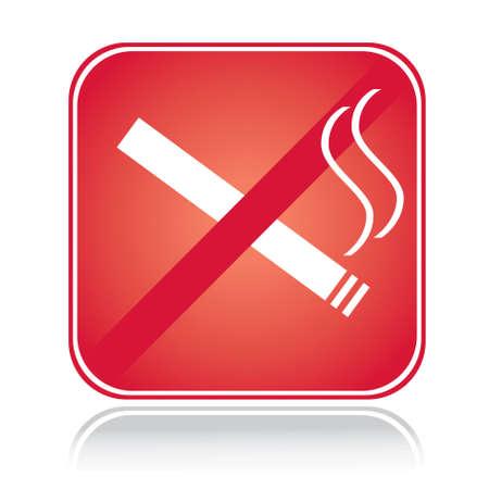 prohibido fumar: Cuadrado rojo no firmar ningún área de fumar con la reflexión Vectores