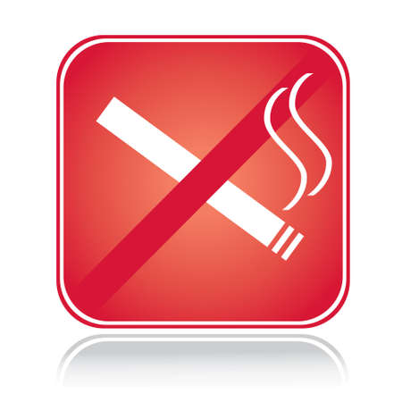 areas: Red square sign no smoking area with reflection