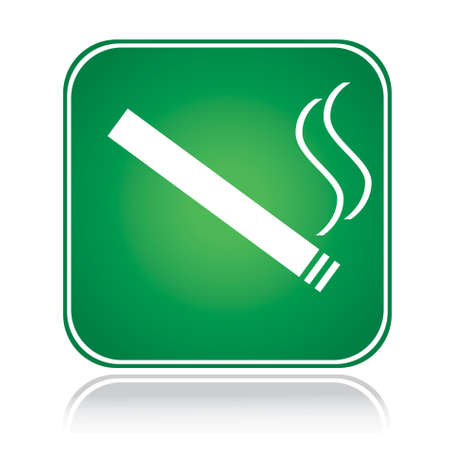 Green square sign smoking area with reflection Stock Vector - 6488468