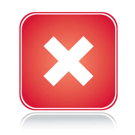 Red square sign cancel action cross over white Illustration