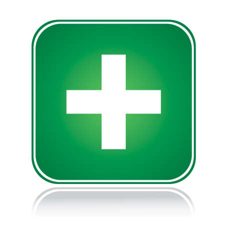 Signo de cuadrado verde aprobar la acción más blanco más Ilustración de vector