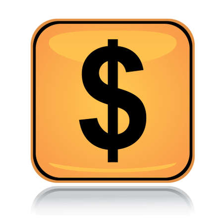 Yellow square icon american dollar with reflection over white