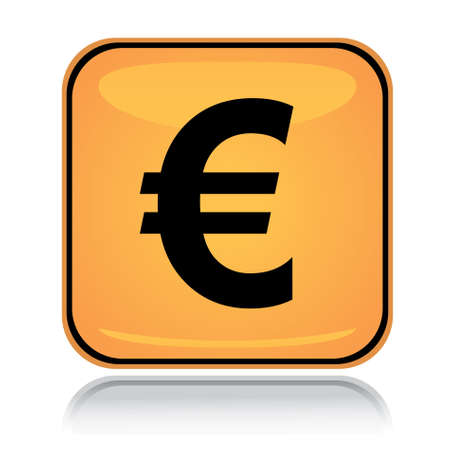 Yellow square icon euro with reflection over white