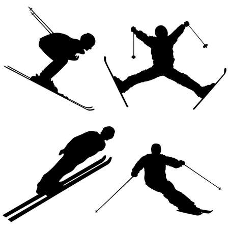 winter time: Silhouette set of different winter sports skiing part 1