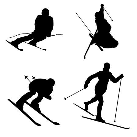 Silhouette set of different winter sports skiing part 2 Illustration