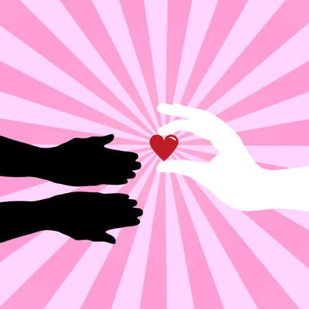 hold hand: Silhouette di mani dando simbolo di amore