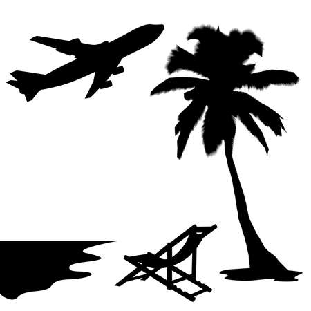 Silhouette of palm, sunbed, sea and plane   Illustration