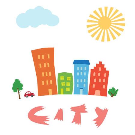 colourful houses: Arte de la caricatura colorida casas, �rboles y coche aparcado
