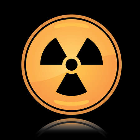 Yellow round icon radiation hazard sign with reflection over black