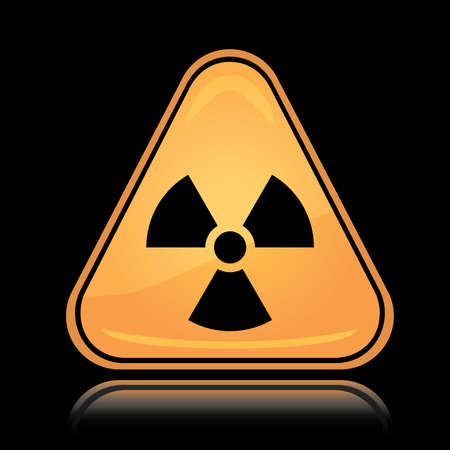 Yellow triangle icon radiation hazard sign with reflection over black