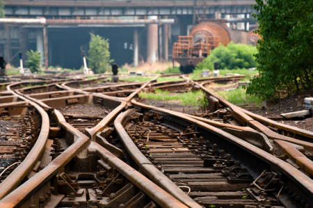 steel works: Rusted railway in an abandoned steel works in Beijing,