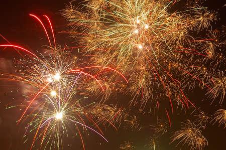 Beautiful firework at night photo
