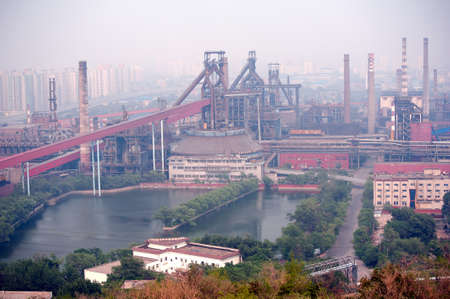 steel works: Steel works is located in Beijing,  forced to leave from Beijing in 2008 due to pollution  Stock Photo
