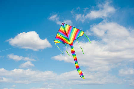 The colorful kite on the blue sky