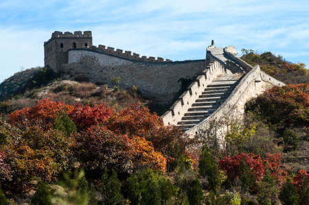 great wall of china: Great wall in the golden autumn Stock Photo