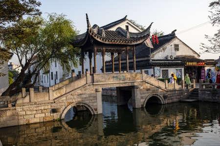 Ancient bridge in Mudu of Suzhou at the dusk, China