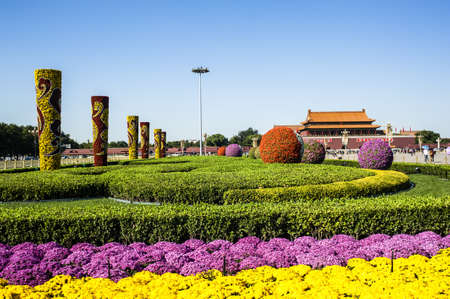 Colorful flower-beds in Tiananmen square to meet Chinese National day