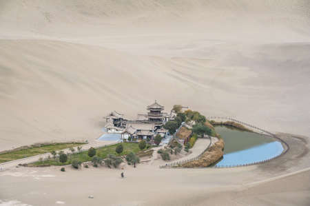 Crescent Moon Spring and the pavilion, Dunhuang of China Stock Photo - 16782141