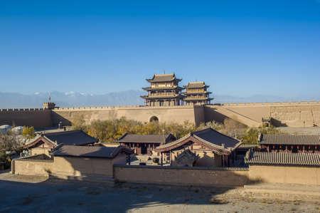 jiayuguan pass tower: Jiayuguan castle, west end of Great Wall, Gansu of China Editorial