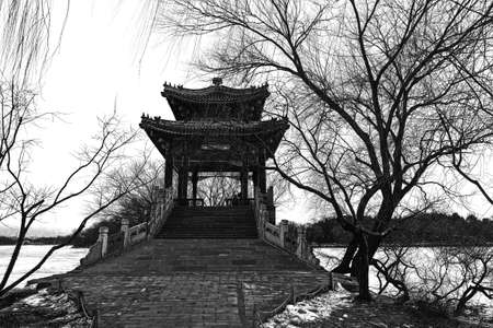 b w: Bridge in Summer Palace  B W  Stock Photo