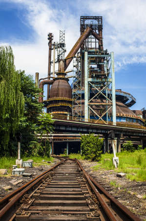 steel works: Rusted railway and abandoned steel works in outside