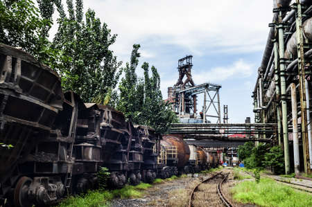 steel works: Rusted railway and abandoned steel works