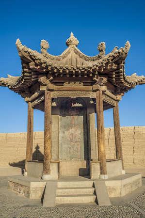 jiayuguan pass tower: Ancient pavilion in Jiayuguan castle, Jiayuguan city, Gansu of China