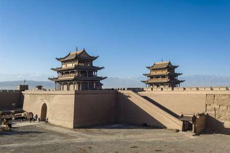 jiayuguan pass tower: Jiayuguan, west end of Great Wall, Gansu of China Editorial