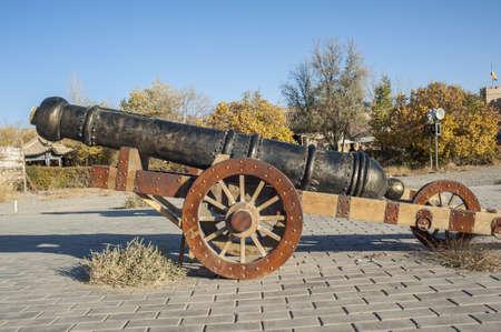 jiayuguan pass tower: A old  bronze artillery