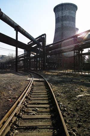 steel works: Rusted railway and abandoned steelmaking equipments