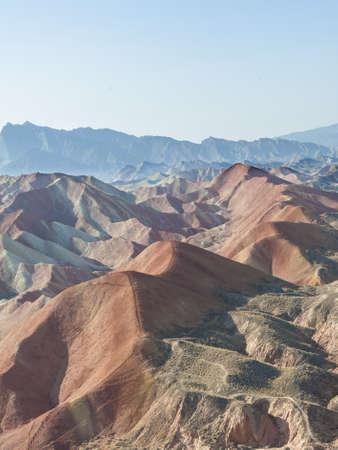 landform: Colorful rocks in Danxia landform in Zhangye, Gansu of China Stock Photo
