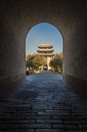 jiayuguan: Jiayuguan tower, west end of Great Wall, Gansu of China  View from the gateway