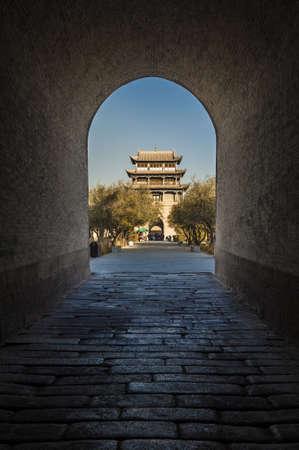 jiayuguan pass tower: Jiayuguan tower, west end of Great Wall, Gansu of China  View from the gateway