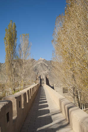 jiayuguan: Great Wall in Jiayuguan Cantilevel Wall , Gansu of China Stock Photo