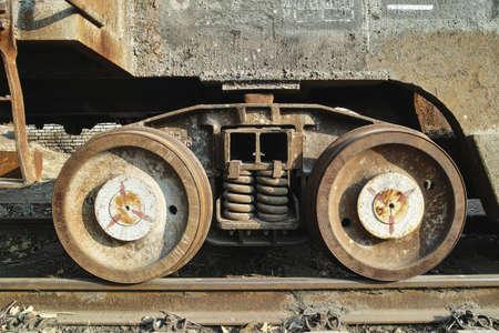 railtrack: Rusted train wheel and railtrack in outside